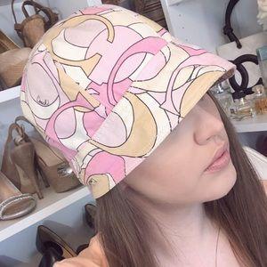Coach Signature Large C Cap Pink Tan Fabrics Hat